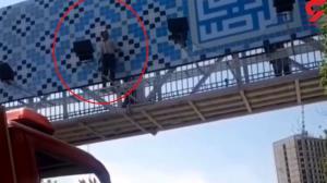 لحظه خودکشی جوان مشهدی از پل هوایی