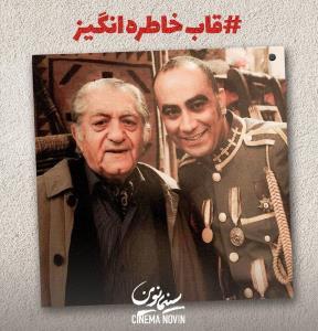 زنده یاد عارف لرستانی و عزت الله انتظامی در پشت صحنه سریال «قهوه تلخ»