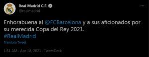 واکنش رئالمادرید به قهرمانی بارسلونا