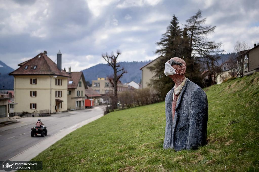 مجسمه ای به منظور آگاهی رسانی برای استفاده از ماسک در سوئیس