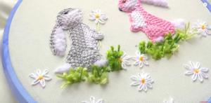 ترفند گلدوزی فانتزی طرح خرگوش برای لباس کودک