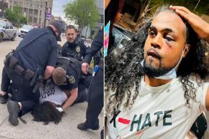 لحظه ضرب و شتم یک شهروند سیاه پوست از سوی پلیس آمریکا