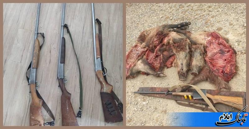 دستگیری ۱۰ شکارچی غیر مجاز در ایلام