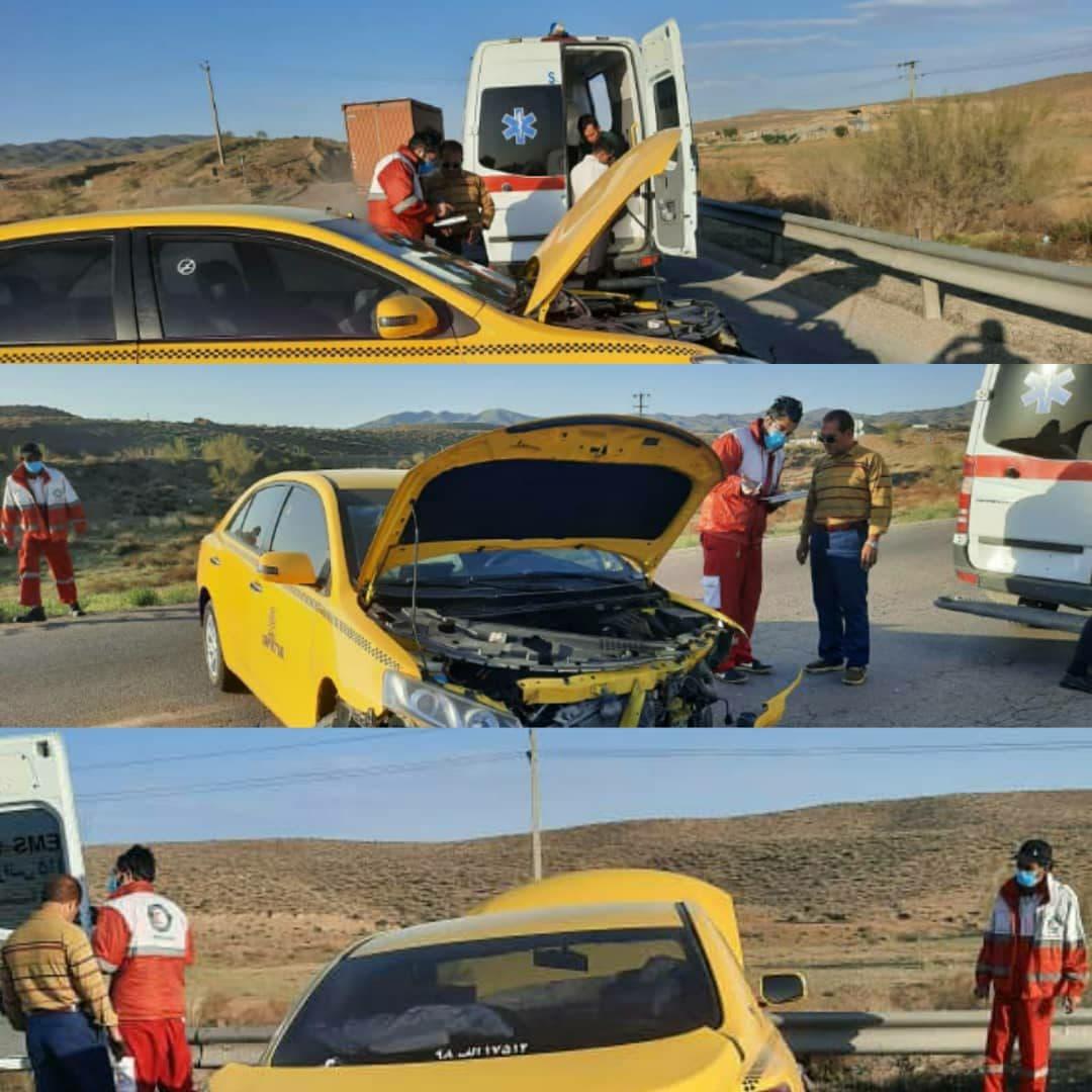 واژگونی تاکسی در جاده دامغان ـ سمنان