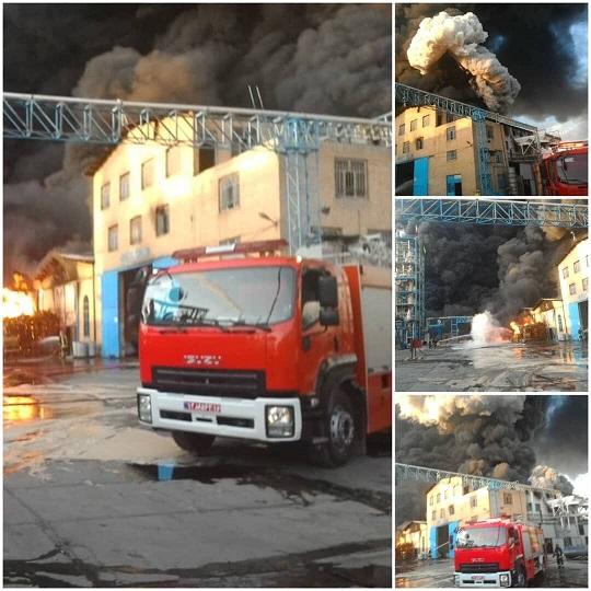 آتشسوزی در کارخانه تولید الکل قم