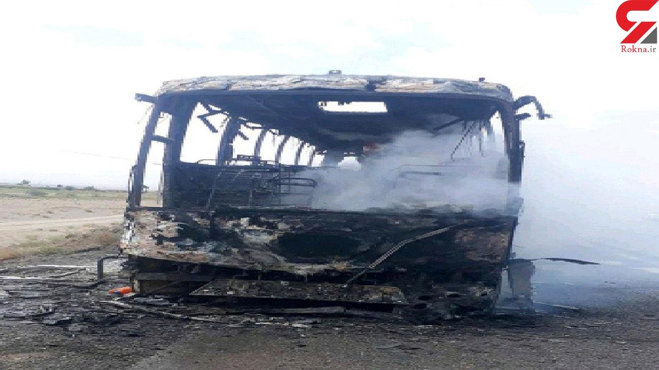 آتشسوزی اتوبوس در جاده سربیشه_زاهدان
