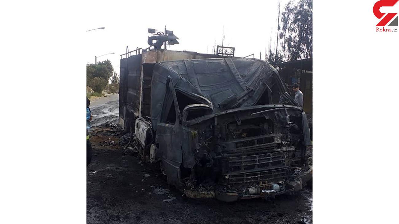 ماشین آتش نشانی هم سوخت؛ در آتش سوزی بزرگ قم رخ داد