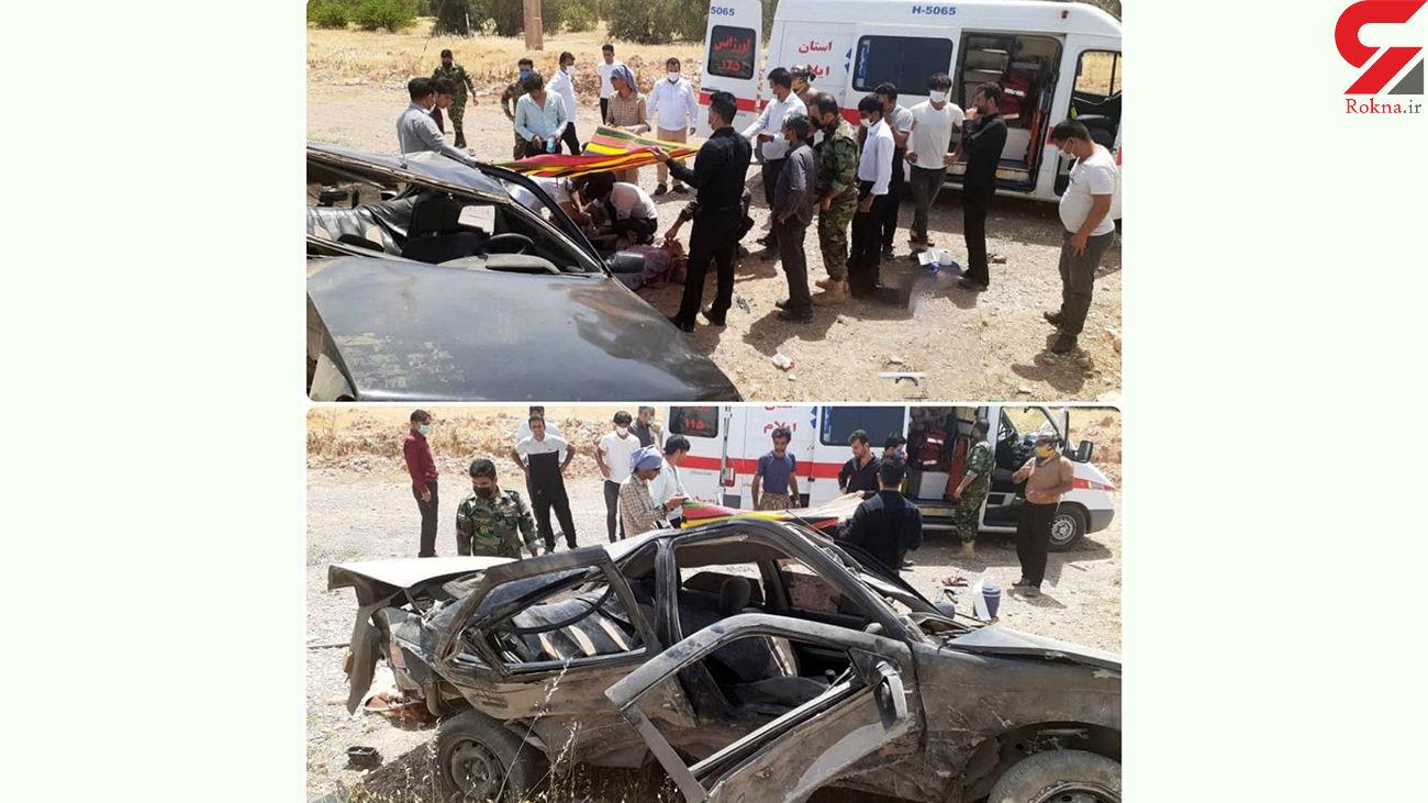 واژگونی شدید پژو ۴۰۵ در جاده اندیمشک به دهلران