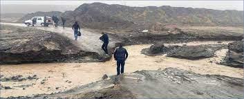 مسدود شدن محور جغتای به کارخانه سیمان به علت سیلاب