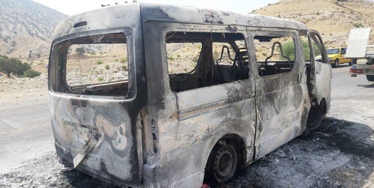آمبولانس بیمارستان دهدشت در آتش سوخت