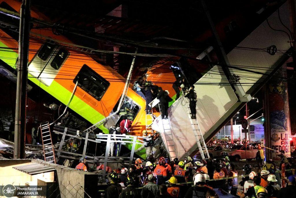 فرو ریختن یک پل روگذر مترو در پایتخت مکزیک و سقوط قطار