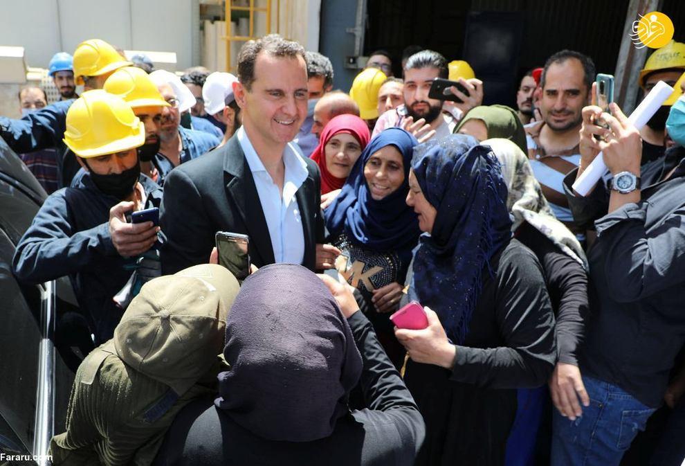 بازدید بشار اسد از یک شهرک صنعتی