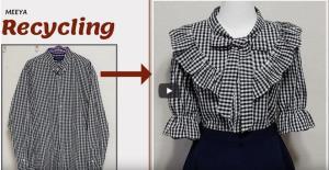 آموزش تبدیل پیراهن مردانه به یک شومیز زیبای زنانه