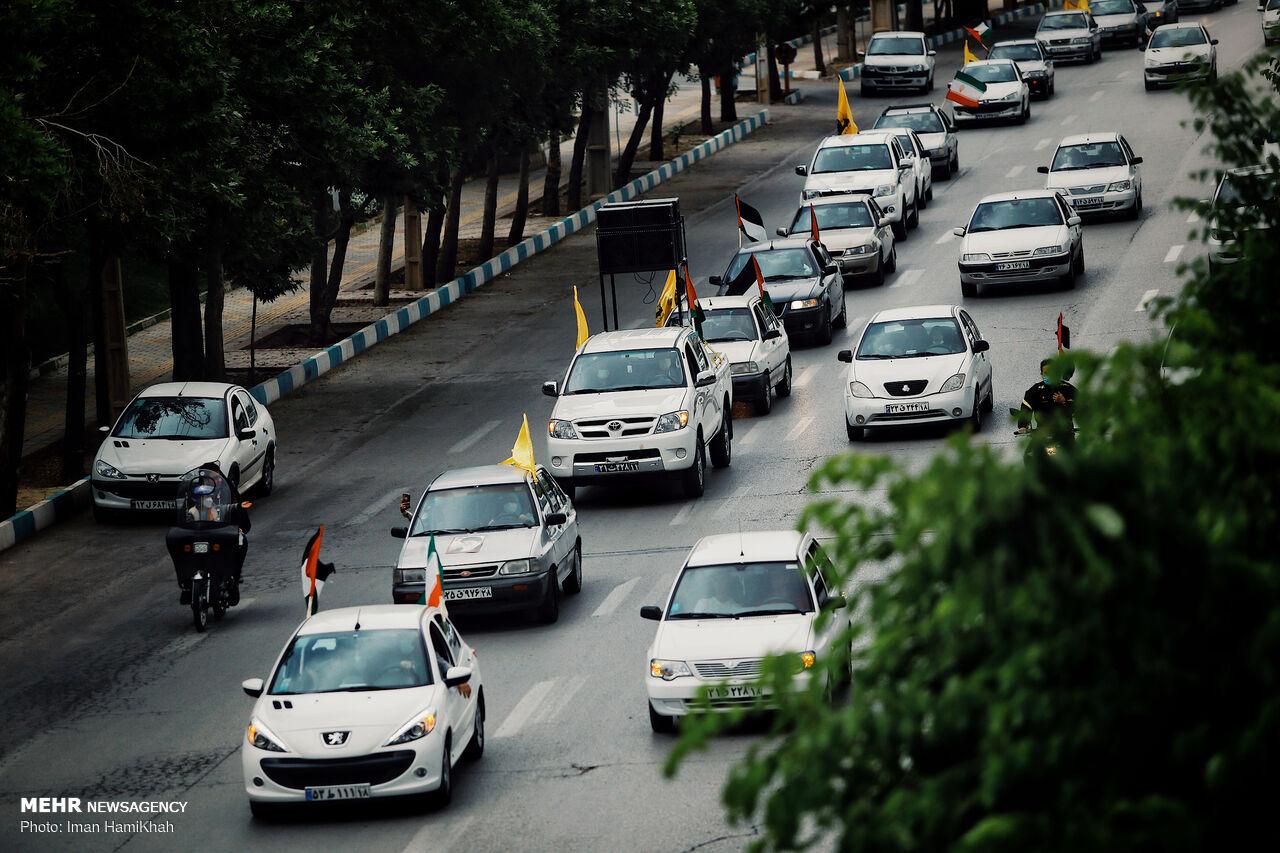 عکس/ راهپیمایی خودرویی روز قدس در همدان
