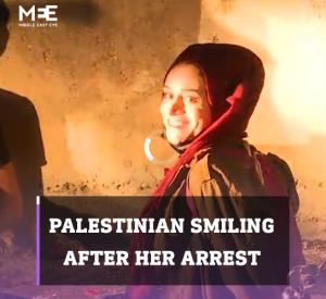 لبخند دختر فلسطینی پس از بازداشت شدن در شیخ جراح