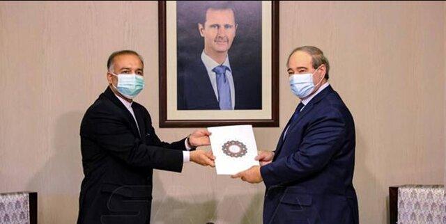 سفیر جدید ایران رونوشت استوارنامه خود را تسلیم وزیر خارجه سوریه کرد