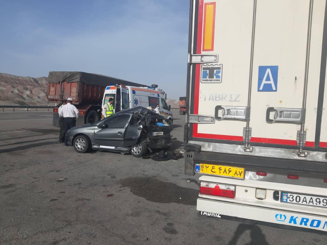 یک کشته و ۴ مصدوم در تصادف آزادراه پیامبر اعظم تبریز