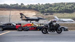 نبرد تاریخی خودروی فرمول 1 و جت و هواپیما و موتورسیکلت!