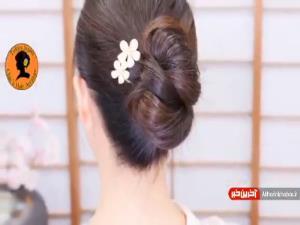 آموزش شنیون ساده و زیبا با کمک بافت مو