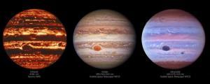 تصاویری شگفتانگیز از سیارهی مشتری در طیفهای نوری مختلف