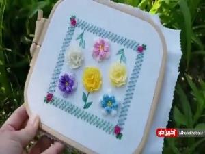 آموزش هنر گلدوزی با طرح گل برجسته زیبا و فانتزی
