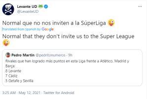توییت جالب باشگاه لوانته علیه بارسا، رئال و «سوپرلیگ»