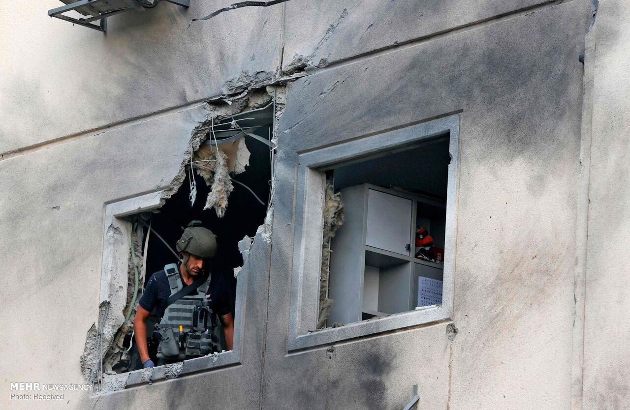 عکس/ خسارات موشک های فلسطینی در شهر اشغالی عسقلان