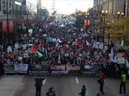 تظاهرات بزرگ حمایت از فلسطین در «شیکاگو» آمریکا