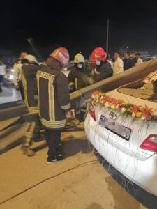 مصدومیت شدید عروس و داماد شیرازی در شب عروسی بر اثر تصادف