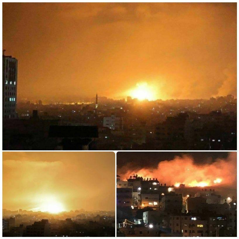 عکس/ حملات گسترده اسرائیل به نوار غزه از زمین، هوا و دریا