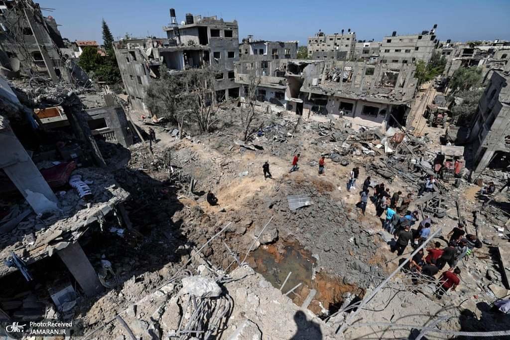 آوار به جا مانده از حملات هوایی وحشیانه رژیم صهیونیستی به بیت هانون