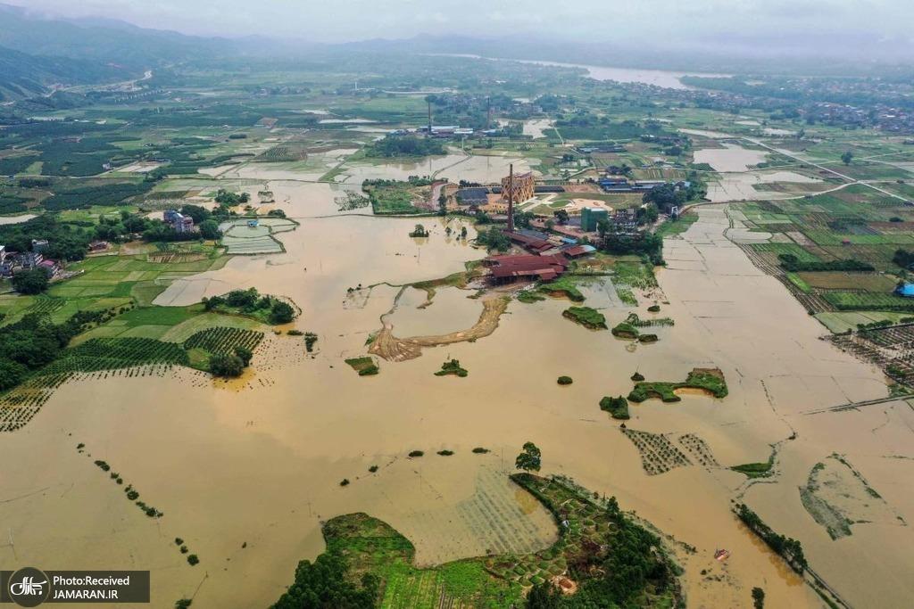 مزارع سیل زده پس از بارندگی شدید در جنوب چین
