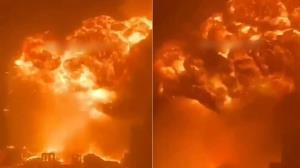 آتش سوزی بزرگ پس از حمله موشکی مقاومت به عسقلان
