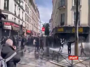 مقابله پلیس فرانسه با تظاهرات حامیان فلسطین در پاریس