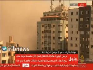 ویدئوی دیگری از لحظه فرو ریختن برج الجلاء در غزه