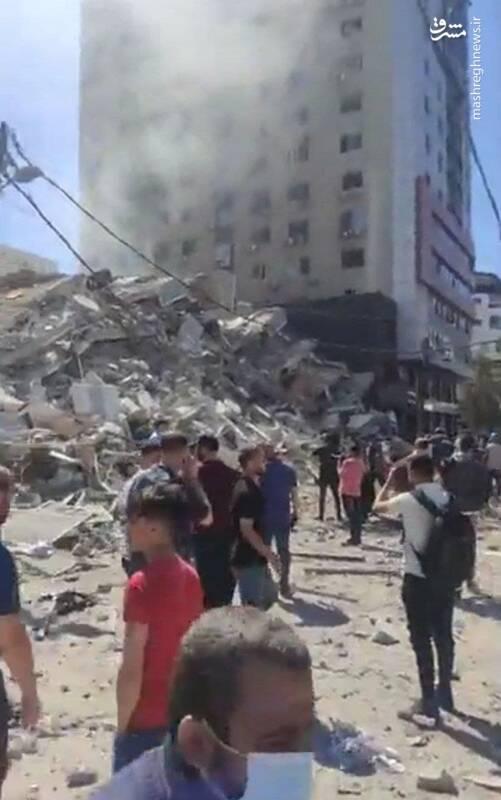 برج جلاء پس از حمله صهیونیستها