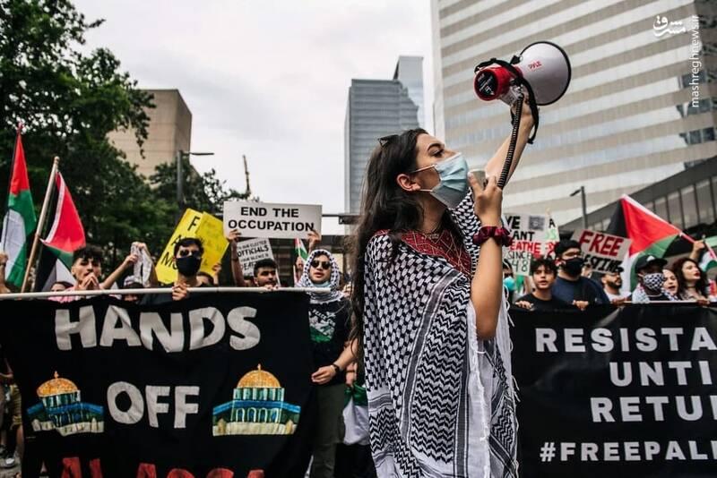 عکس/ محکومیت جنایات رژیم صهیونیستی در تگزاس آمریکا