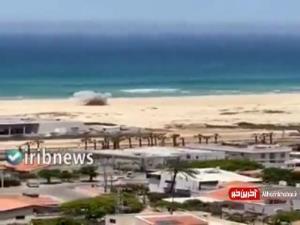 تصویری از اصابت مستقیم موشک به سواحل اسدود