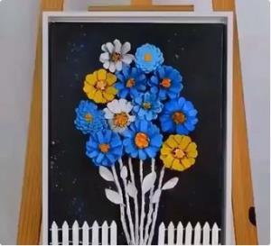 نقاشی و کلاژ زیبا و ساده با میوه کاج