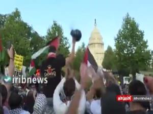تظاهرات مردم آمریکا در حمایت از فلسطین مقابل کاخ سفید