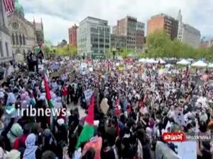 تصاویری از هزاران معترض در بوستون آمریکا در حمایت از فلسطین
