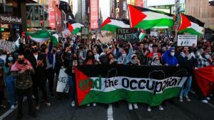 فریاد «الله اکبر» هزاران حامی فلسطین در لندن