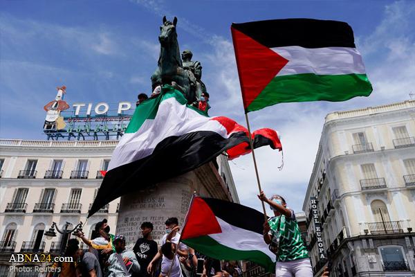 عکس/ همبستگی باشکوه اسپانیاییها با مردم فلسطین