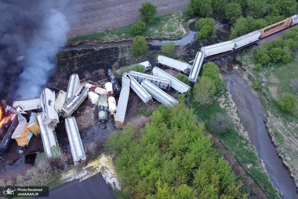 خارج شدن قطار حامل مواد خطرناک از خط
