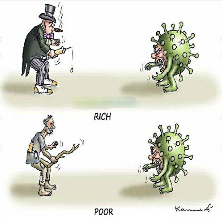 کاریکاتور/ تفاوت مبارزه فقرا و ثروتمندان با کرونا را ببینید!