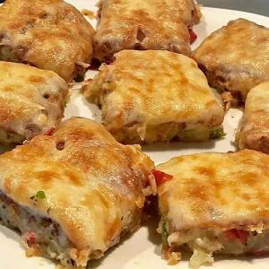 کیک سبزیجات ساده با سیب زمینی و پنیر پیتزا