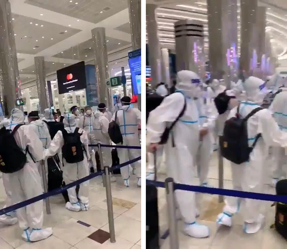 چینیها با لباس ضد کرونایی در امارات!