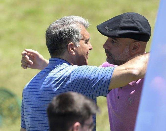 خوش و بش گرم گواردیولا و رئیس بارسلونا