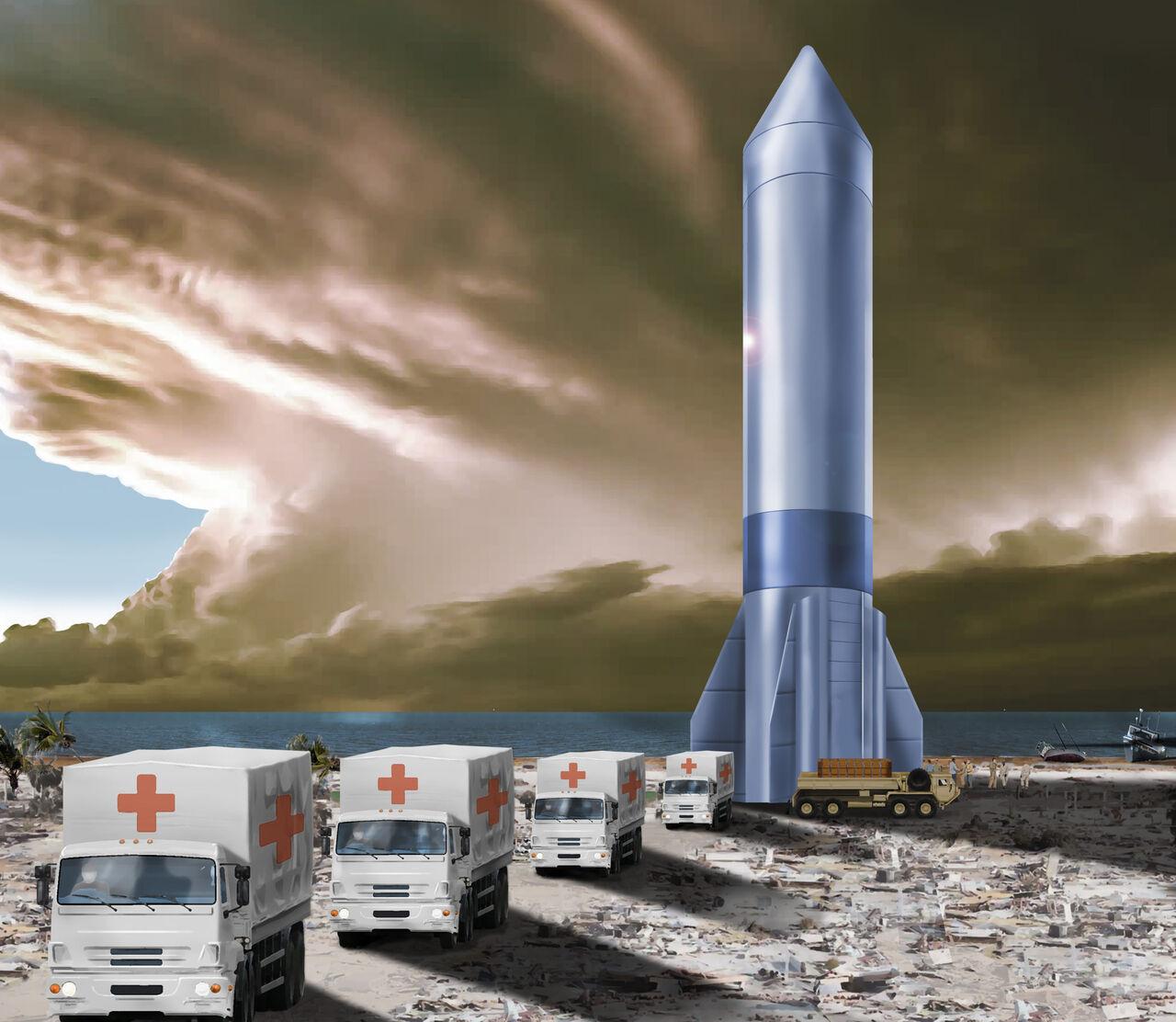 ارسال مهمات جنگی با کمک موشکهای فضایی