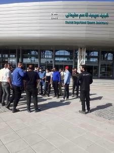 تجمع کارگران خط ۵ قطارشهری تهران در ایستگاه هشتگرد